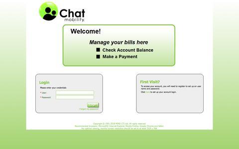 Screenshot of Login Page chatmobility.com - SelfCare   Login - captured July 17, 2018