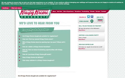 Screenshot of Contact Page FAQ Page krispykreme.co.uk - WE'D LOVE TO HEAR FROM YOU | Krispy Kreme - captured Oct. 23, 2014
