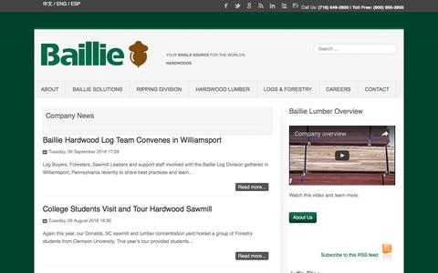 Screenshot of Press Page baillie.com - Company News - Hardwood Lumber Supplier - captured Nov. 22, 2016
