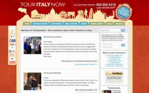 Screenshot of Testimonials Page touritalynow.com - Reviews & Testimonials | TourItalyNow.com - captured Feb. 24, 2016
