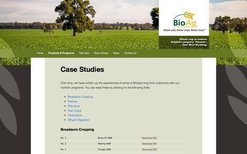 Screenshot of Case Studies Page bioag.com.au - Case Studies |BioAg Australia - captured Oct. 5, 2014