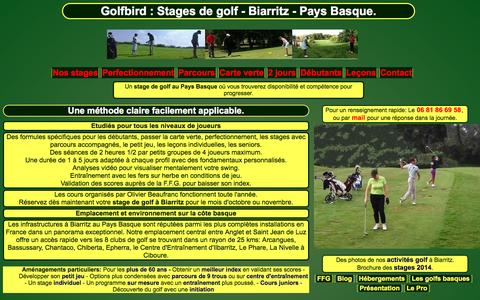 Screenshot of Home Page golfbird.com - Golfbird : Stages de golf - Biarritz - Pays Basque - captured Oct. 7, 2014