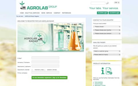 Screenshot of Signup Page agrolab.com - AGROLAB GROUP – AGB - AGROLAB GROUP - captured Oct. 6, 2017