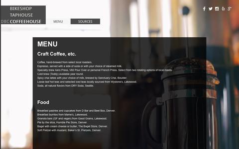 Screenshot of Menu Page denverbicyclecafe.com - Coffee Menu   Denver Bicycle Cafe - captured Sept. 30, 2014