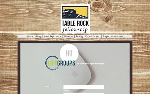 Screenshot of Signup Page tablerockfellowship.org - Fellowship | United States | Table Rock Fellowship | LifeGroup Signup - captured June 11, 2017