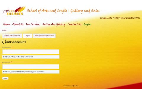 Screenshot of Login Page fusionbrushes.com - User account | Fusion Brushes - captured Oct. 6, 2014