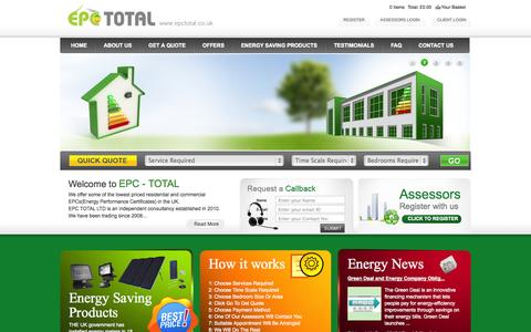 Screenshot of Home Page epctotal.co.uk - Energy Performance Certificates, Energy Saving products, Light Bulbs - captured Oct. 1, 2014