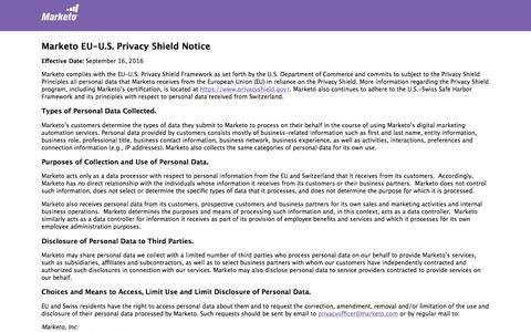 Screenshot of marketo.com - Privacy Shield Notice – Marketo - captured June 8, 2017