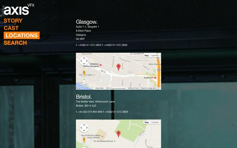 Screenshot of Locations Page axis-vfx.com - Locations - axisVFX - Visual Effects for Broadcast and Film - captured Oct. 8, 2014