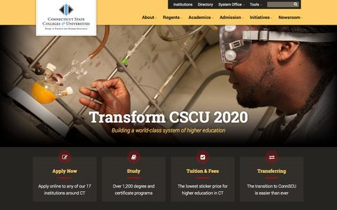 Screenshot of Home Page ct.edu - Connecticut State Colleges & Universities (ConnSCU) - captured Oct. 3, 2014