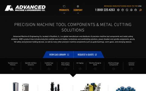 Screenshot of Home Page ame.com - Precision Machine Tool Components & Metal Cutting Solutions | Advanced Machine and Engineering Co. - captured Jan. 21, 2016