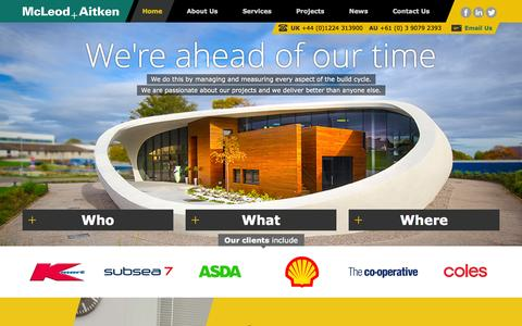 Screenshot of Home Page mcleod-aitken.com - Quantity Surveying, Project Management & CDM Co-ordination Specialists - captured Sept. 30, 2014