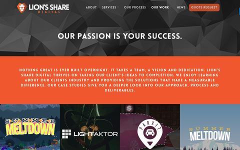 Screenshot of Case Studies Page lionssharedigital.com - Case Studies - Lion's Share Digital - captured May 20, 2017