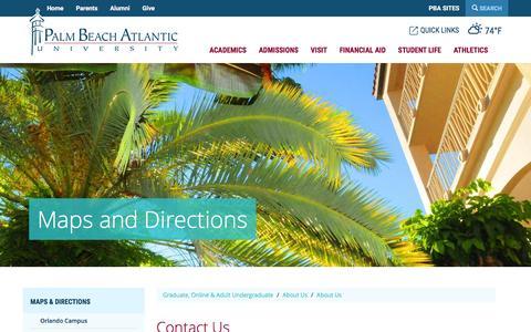 Screenshot of Contact Page pba.edu - Contact Us | Palm Beach Atlantic University - captured Jan. 17, 2016