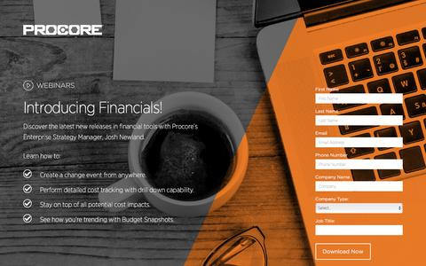 Screenshot of Landing Page procore.com - Introducing Financials - captured March 15, 2016