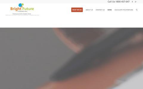 Screenshot of Blog Press Page brightfuturefinancial.com.au - Commission Refunds, Get Your CashBack |   NEWS - captured Jan. 7, 2016