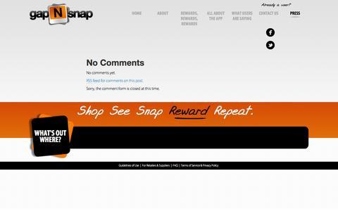 Screenshot of Press Page gapnsnap.com - Press | gapNsnap iPhone App Mobile Out of Stock Reporting - captured Sept. 30, 2014