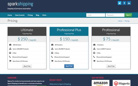 Screenshot of Pricing Page sparkshipping.com - Pricing  - Spark Shipping - captured Sept. 30, 2014
