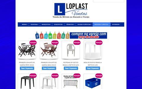 Screenshot of Home Page loplastvendas.com.br - Mesas e Cadeiras Plástico, Madeira e Aço   LoplastVendas - captured Sept. 12, 2015