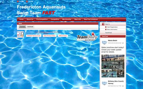 Screenshot of Press Page teamunify.com - Fredericton Aquanauts Swim Team : News - captured Nov. 23, 2018