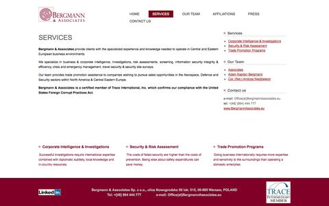 Screenshot of Services Page bergmannassociates.eu - Services - captured Oct. 5, 2014
