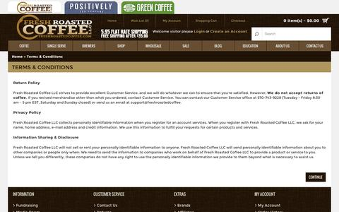 Screenshot of Terms Page freshroastedcoffee.com - Terms & Conditions - captured Oct. 6, 2014