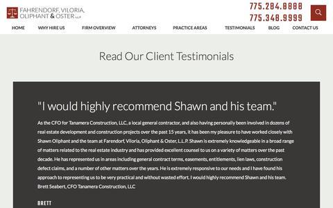 Screenshot of Testimonials Page renonvlaw.com - Testimonials | Reno Lawyer - captured Nov. 24, 2016