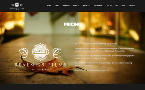 Screenshot of Pricing Page realm29.com - Realm 29 Films | Corporate video production, London - captured Feb. 14, 2016
