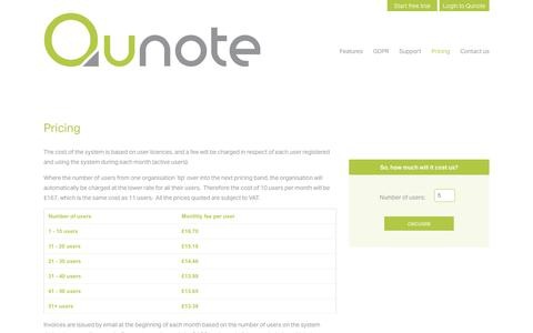 Screenshot of Pricing Page qunote.com - Pricing | Qunote - captured July 25, 2018