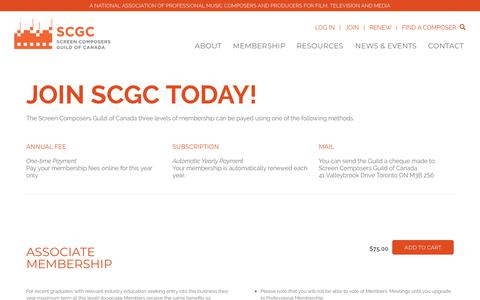 Screenshot of Signup Page screencomposers.ca - Join SCGC Today! – Screen Composers Guild of Canada - captured Oct. 1, 2018