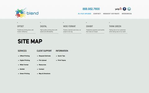 Screenshot of Site Map Page blendsd.com - Blend San Diego - captured Oct. 5, 2014