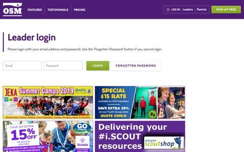 Screenshot of Login Page onlinescoutmanager.co.uk - Online Scout Manager: Leader login - captured Oct. 18, 2018