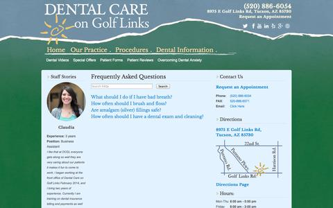 Screenshot of FAQ Page dentalcaretucson.com - Frequently Asked Questions - Dental Care on Golf Links - captured Oct. 5, 2014