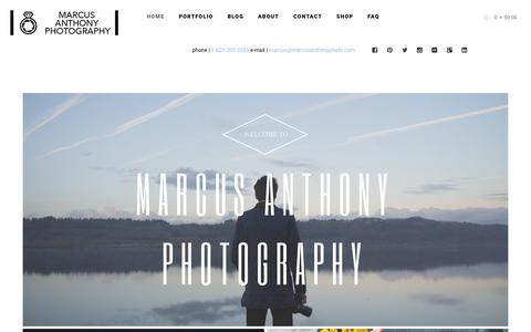 Screenshot of Home Page marcusanthonyphoto.com - Wilmington NC Wedding Photographer: Marcus Anthony - captured March 22, 2016