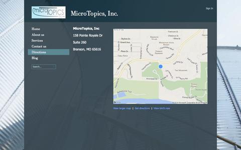 Screenshot of Maps & Directions Page microtopics.com - Directions - captured Oct. 27, 2014