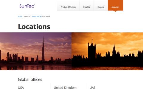 Screenshot of Locations Page suntecgroup.com - SunTec Locations | Global Offices - captured Oct. 7, 2014