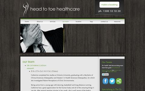 Screenshot of Team Page headtotoehealthcare.com.au - Our Team - Head To Toe HealthcareHead To Toe Healthcare - captured Oct. 2, 2014
