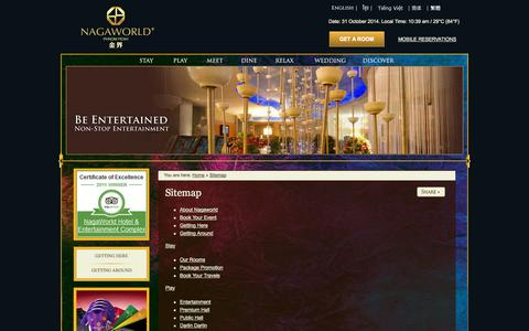 Screenshot of Site Map Page nagaworld.com - Sitemap |  NagaWorld Hotel & Entertainment Complex Phnom Penh - captured Oct. 31, 2014