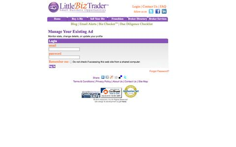 Screenshot of Login Page littlebiztrader.com - Buy or Sell a Small Business or Franchise - captured Oct. 2, 2014