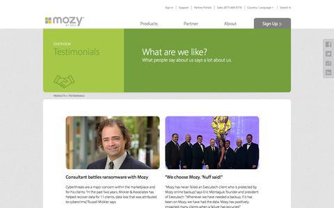 Screenshot of Testimonials Page mozy.com - Customer Testimonials | Mozy - captured Feb. 9, 2018