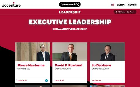 Screenshot of Team Page accenture.com - Our Executive Leadership Team - captured Jan. 1, 2018