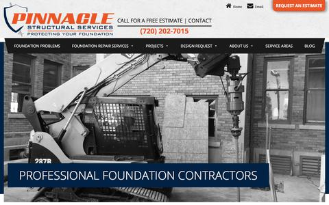Screenshot of Home Page pinnaclestructuralservices.com - Foundation Repair Denver | Foundation Repair Contractors | Pinnacle - captured July 18, 2018
