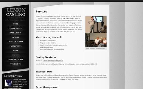 Screenshot of Services Page lemoncasting.tv - Police Costume Hire | Police Cars for Hire for Film and Television | Props Hire | Military Uniform Hire for Film And Television | Weapons for Hire to Television Film and Theatre - captured Dec. 9, 2015