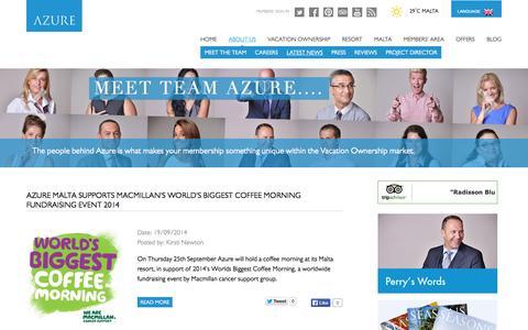 Screenshot of Press Page azure.com.mt - News   About Us - captured Sept. 24, 2014
