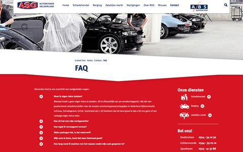 Screenshot of FAQ Page autoschadegelderland.nl - FAQ - ASG - Autoschade Gelderland - captured Feb. 4, 2016