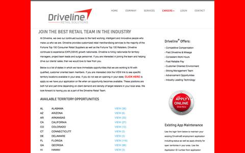 Screenshot of Jobs Page drivelineretail.com - DRIVELINE RETAIL - DRIVING YOUR BUSINESS - captured Sept. 22, 2018
