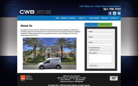Screenshot of About Page cwbsmarthome.com - About Us | Smart Home Solutions | CWB - captured Oct. 27, 2014