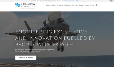 Screenshot of Home Page stirling-dynamics.com - Home | Stirling Dynamics - captured Nov. 18, 2018