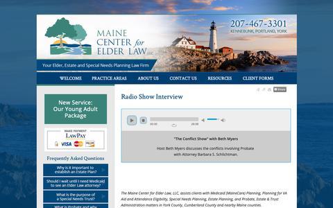 Screenshot of Press Page mainecenterforelderlaw.com - Radio Show Interview Kennebunk York  ME Lawyer Attorney Law Firm - captured Oct. 2, 2018