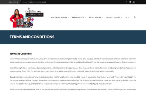 Screenshot of Terms Page lovebyjd.com - Terms and Conditions - Love by Jasmine Diaz | Celebrity Black Matchmaker/Dating Expert - captured Oct. 3, 2014